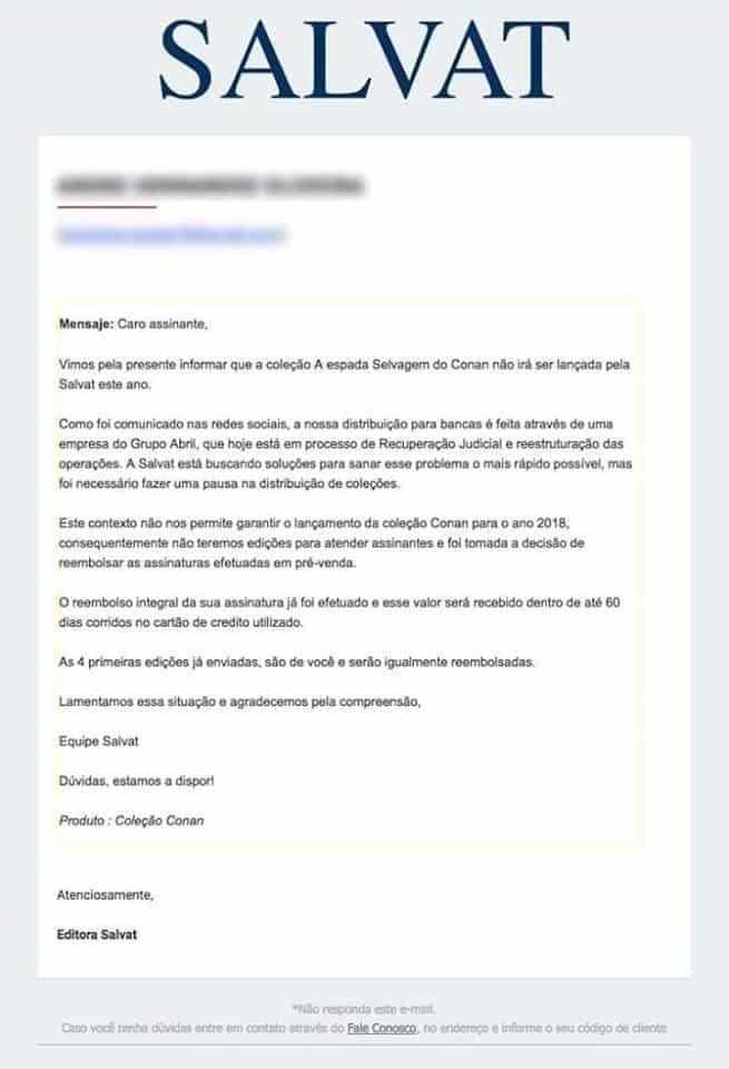Em nota, Salvat cancela assinatura de A Espada Selvagem de Conan 2