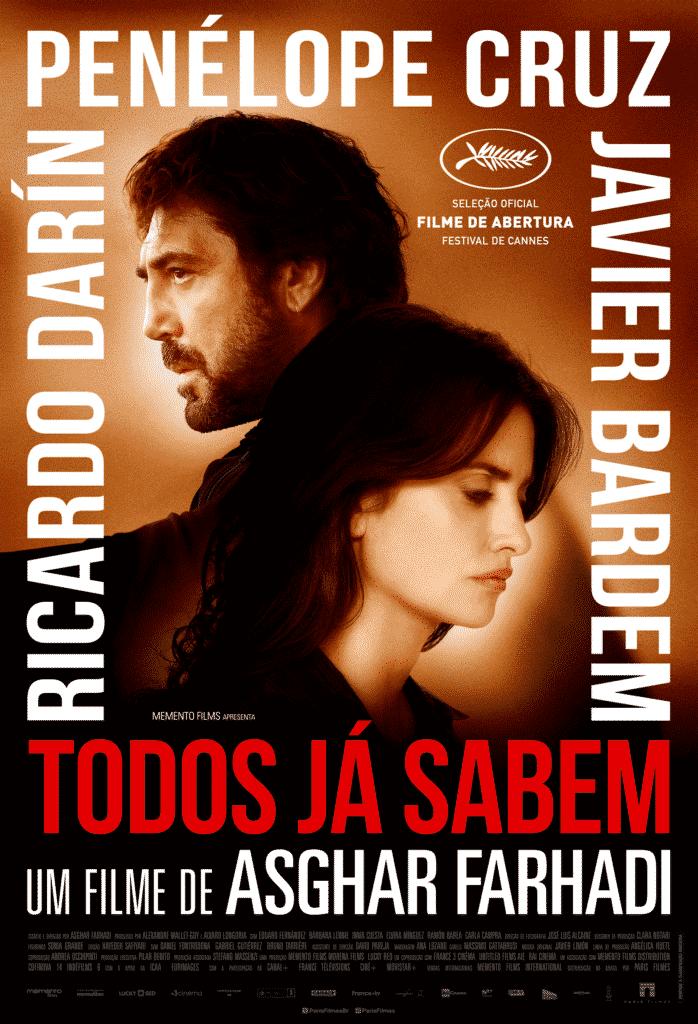 Javier Bardem e Penélope Cruz em poster do filme Todos Já Sabem de Ashgar Farhadi