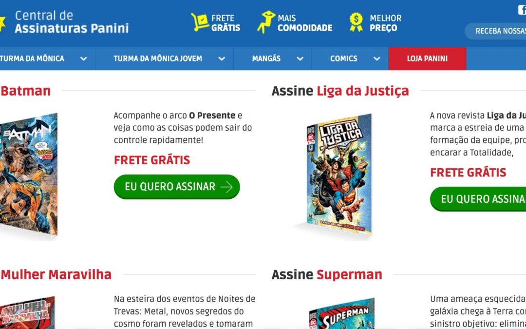 Erros nos quadrinhos e nova assinatura das revistas DC Comics no site da Panini