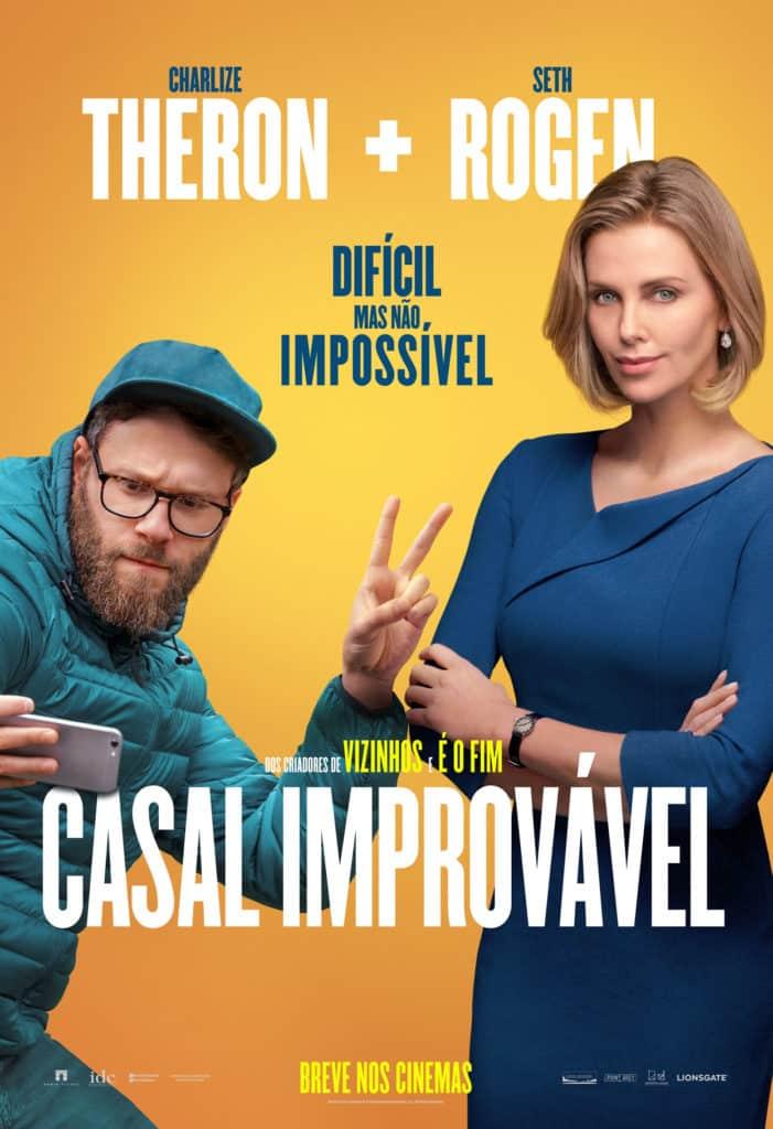 Seth Rogen e Charlize Theron juntos no poster final nacional de Casal Improvável 3