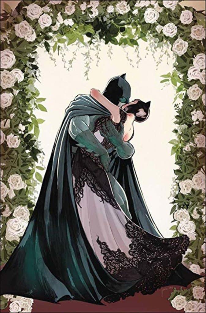 Capa da revista Batman #50 da DC Comics com o Batman e a Mulher Gato casando - versão sem texto