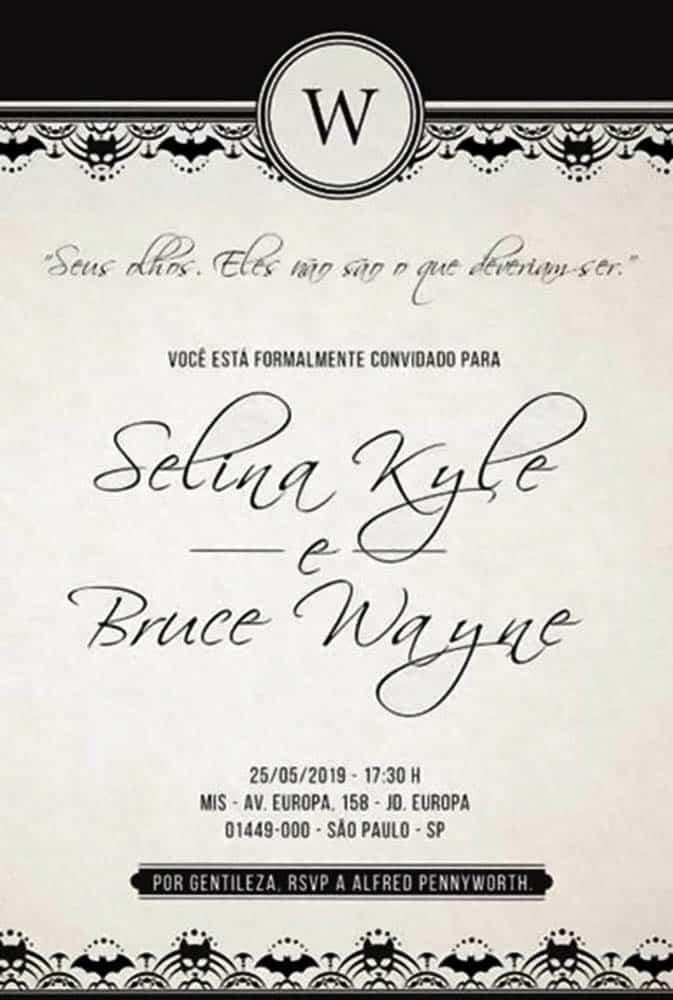 Convite de Casamento de Bruce Wayne e Selina Kyle - Evento Panini Brasil