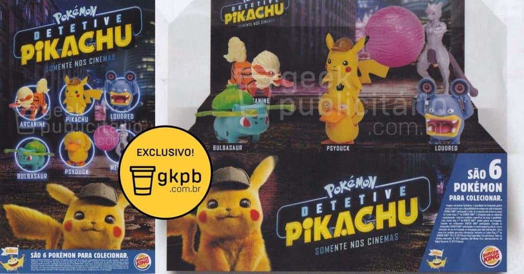 Divulgados brindes do Burger King Brasil inspirados em Detetive Pikachu 1