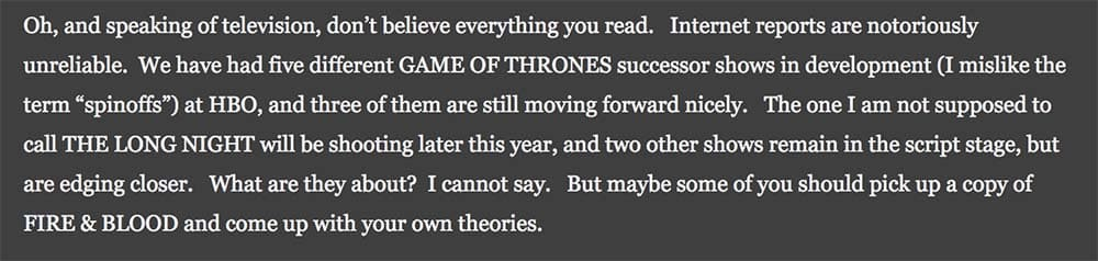Saiba tudo o que está confirmado até agora sobre os derivados de Game of Thrones! 2
