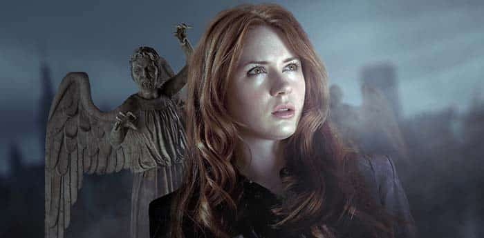 Karen Gillan as Amy Pond and a Weeping Angel