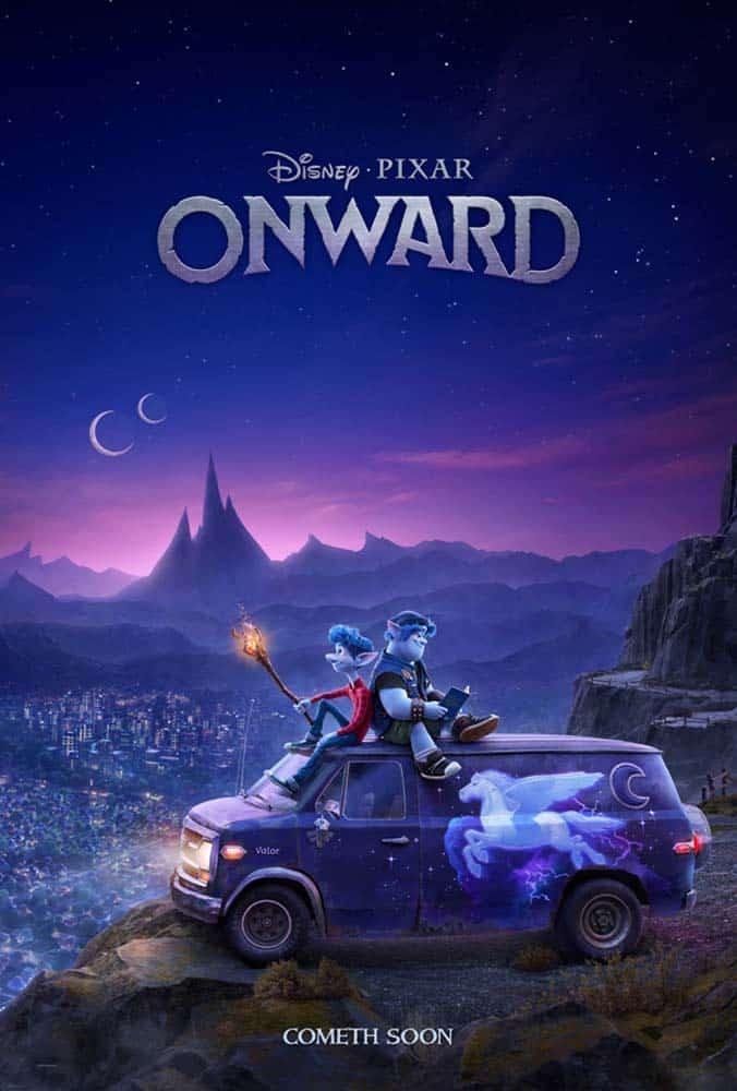 Detalhe do poster de Onward, animacao da Disney Pixar