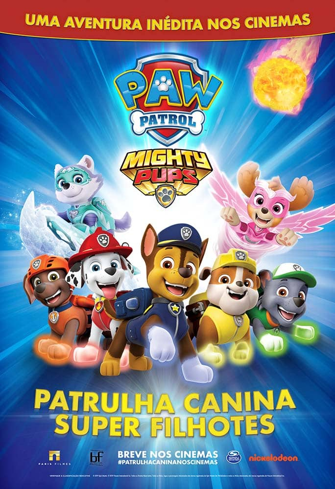 Estreia no mês que vem, nos cinemas, o filme da Patrulha Canina! 2