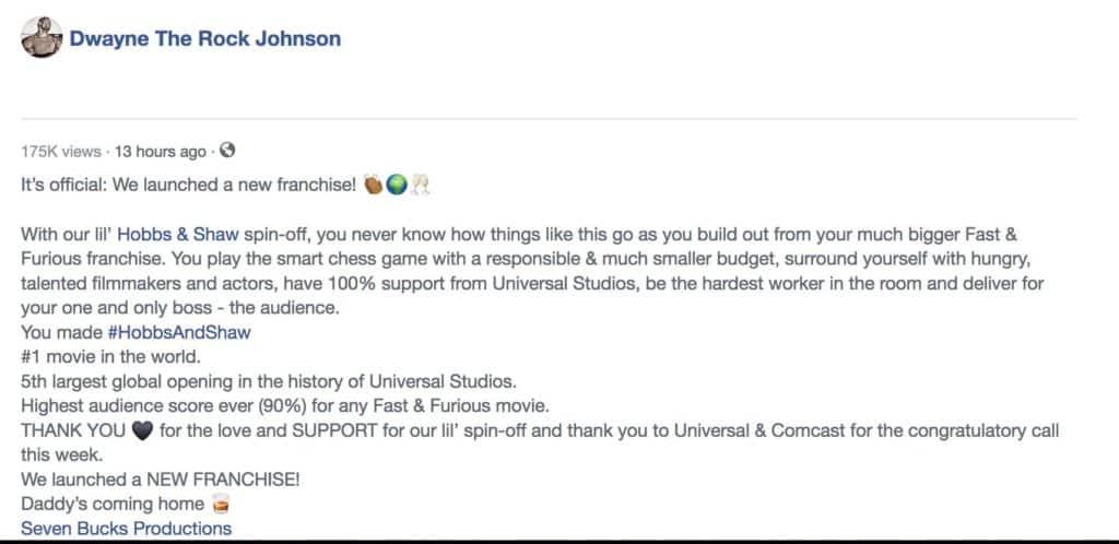 Dwayne Johnson confirma nova franquia 2