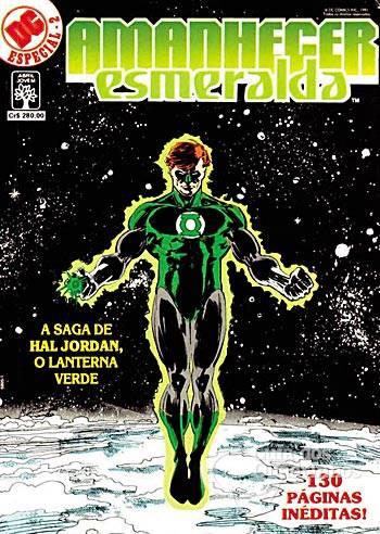 Capa da revista Amanhecer Esmeralda da editora Abril, estrelando o Lanterna Verde Hal Jordan