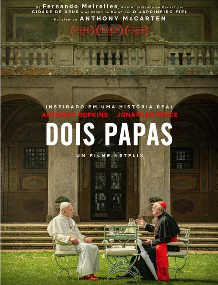 Anthony Hopkins como Papa Bento XVI e Jonathan Pryce como Papa Francisco em Dois Papas