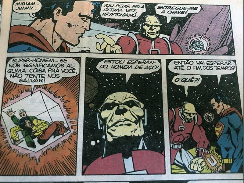 Superman e Mongul conversam em A Chave do Holocausto, primeira aparição de Mongul em 1980