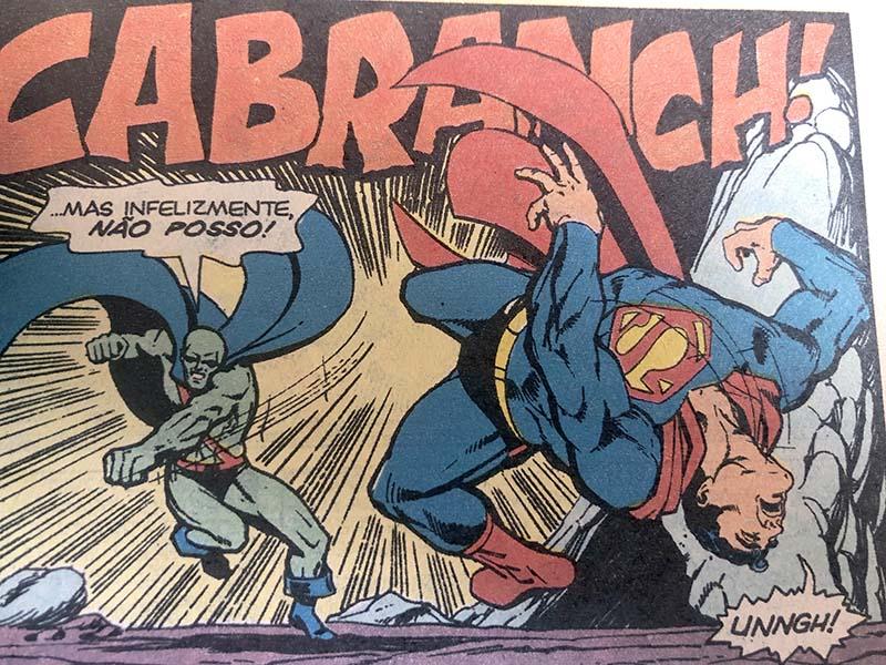 Superman e Caçador de Marte (Ajax) se enfrentam em A Chave do Holocausto, primeira aparição de Mongul em 1980