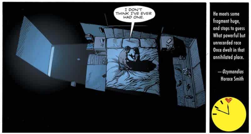 Superman (Clark Kent) e Lois Lane em cena de O Relogio do Juizo Final (Doomsday Clock)