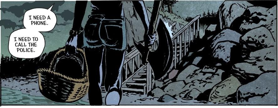 june carrega o machado e o cesto de cabeças