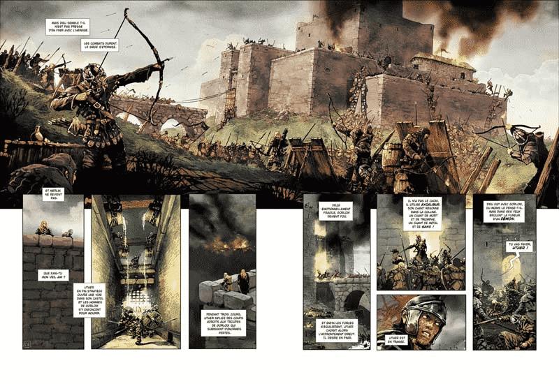 a arte de Alain Brion em Crônicas de Excalibur de Jean-Luc Istin